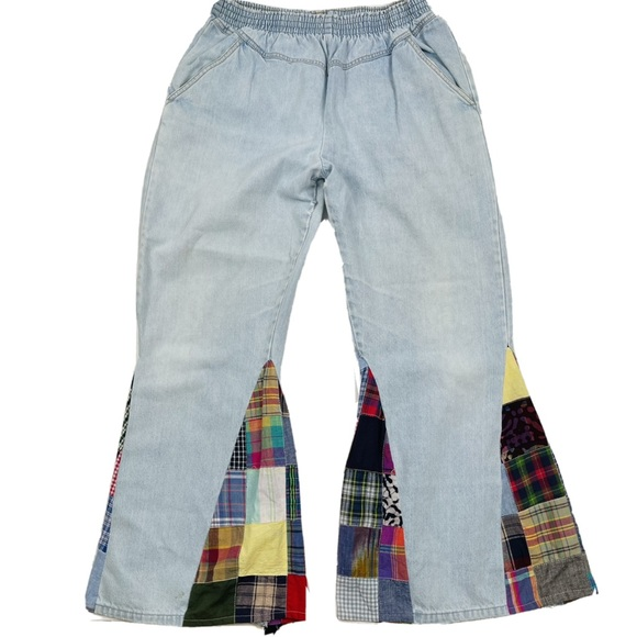 Vintage High Rise Cropped Bell Bottom Plaid Jeans